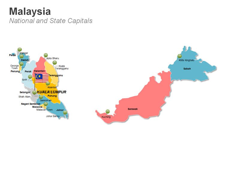Malaysia PPT Map - National and State Capitals