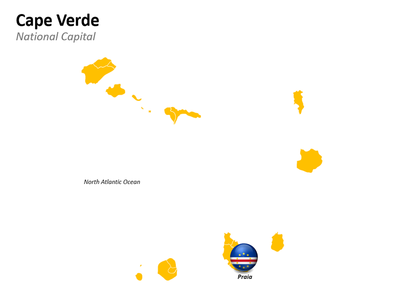 Cape Verde Map with National Capital - Editable PowerPoint Slide