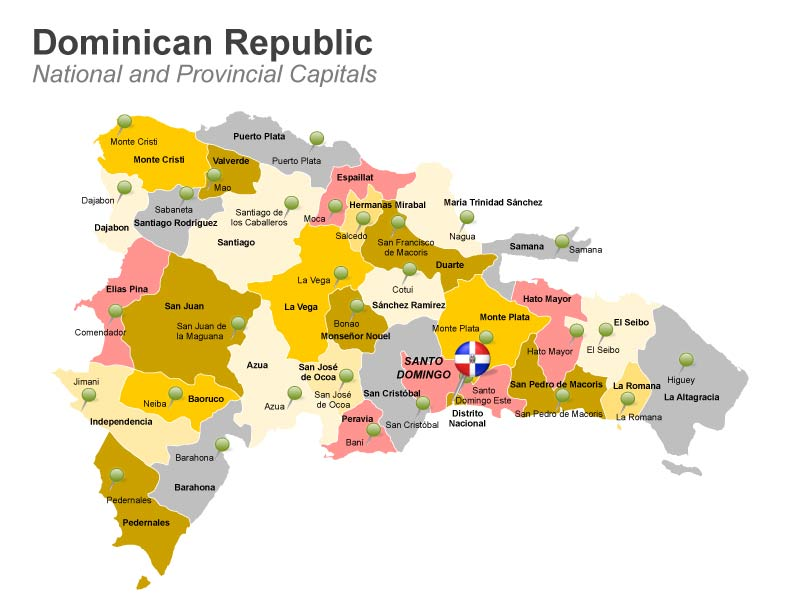 Editable PPT Slide Provincial Map of Dominican Republic