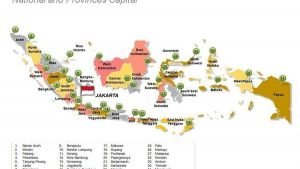 National and Provincial Capitals Indonesia Map