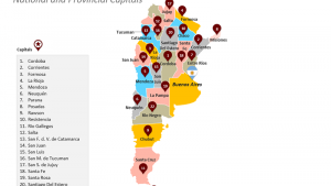 Argentina Map showing National and Provincial Capitals