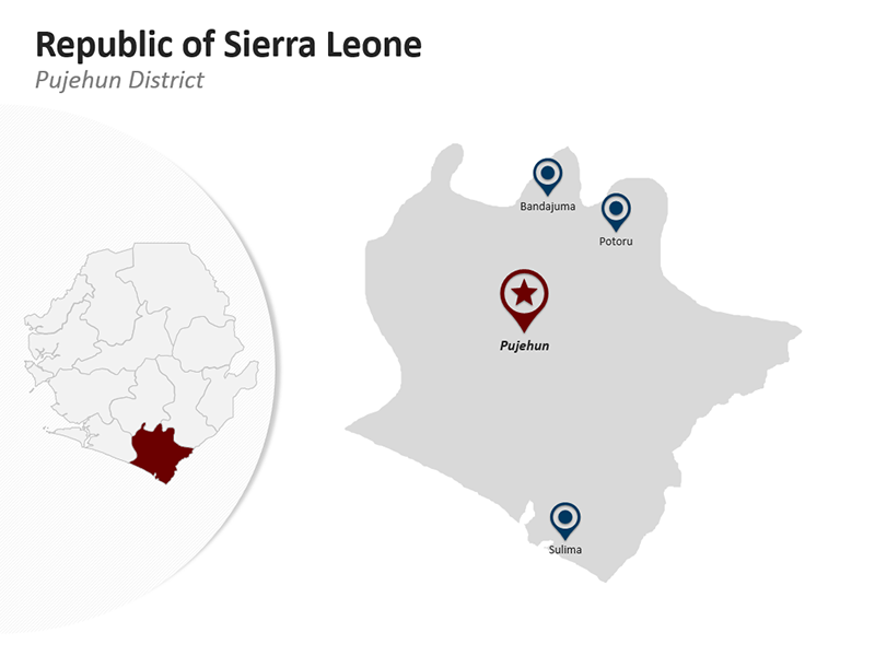 Pujehun District - Republic of Sierra Leone - Editable PPT Map