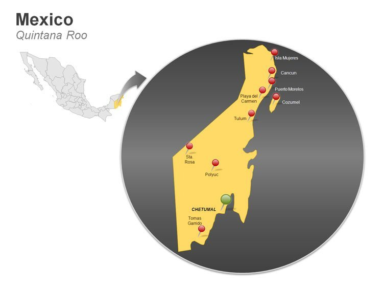 Map of Mexico PowerPoint Slides - Quintana Roo