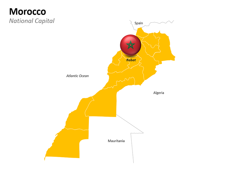 Morocco Map with National Capital Rabat - Editable PowerPoint Slide