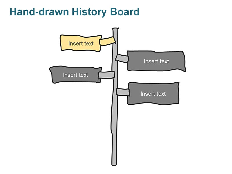 Corporate History Timeline Flag Board Illustrations - Three Events