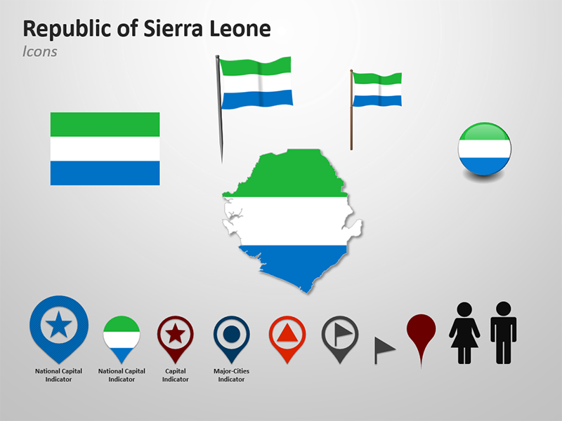Sierra Leone National Flag -Themed Cliparts