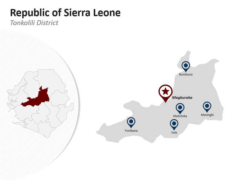 Republic of Sierra Leone - Tonkolili District - Editable PPT Map