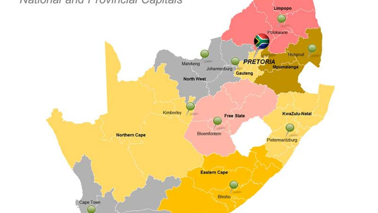 Picture of: Republic Of South Africa Map Editable Powerpoint Slide