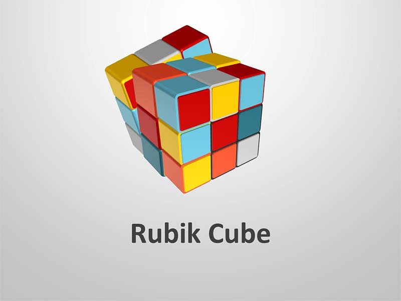 Rubik Cube for Business Analogy - PowerPoint Graphics