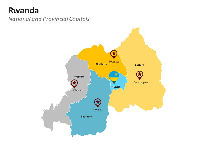 PowerPoint Map of Rwanda Provinces