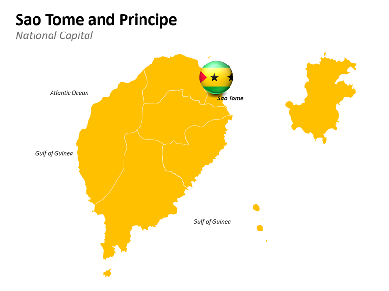 Sao Tome and Principe Map - Editable PowerPoint Slide