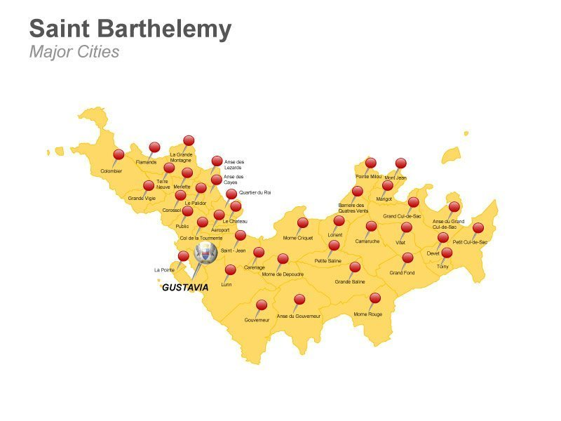 Saint Barthelemy Major Cities Map - PowerPoint Slides