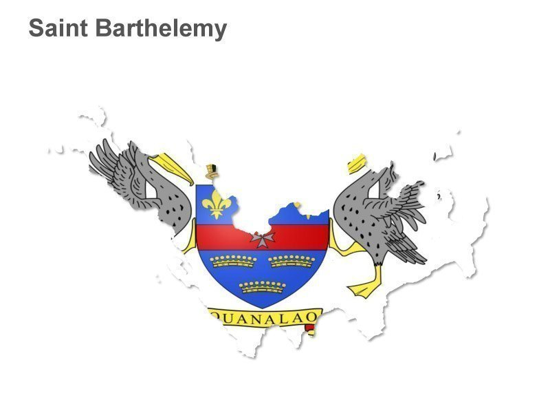 Saint Barthelemy Flag Icons Map - Blank PowerPoint Slide