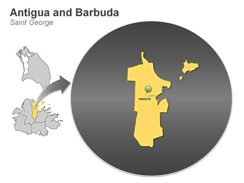 PPT Map of Antigua and Barbuda - Saint George