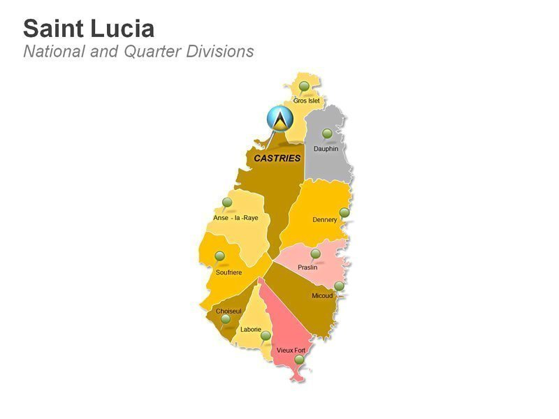 Saint Lucia Map - National And Quarter Divisions - PPT Slide