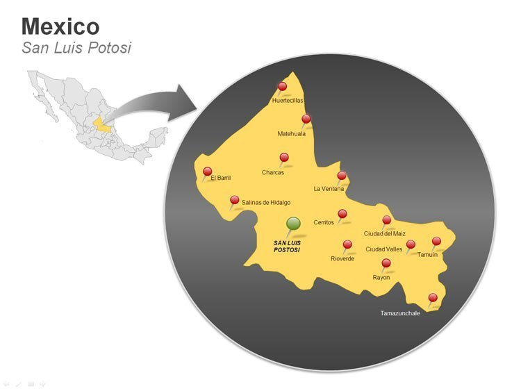 Map of Mexico PowerPoint Slides - San Luis Potosi