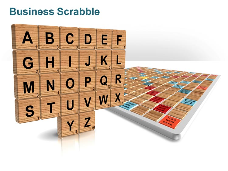 PPT Illustration on Scrable Board - Business Presentations