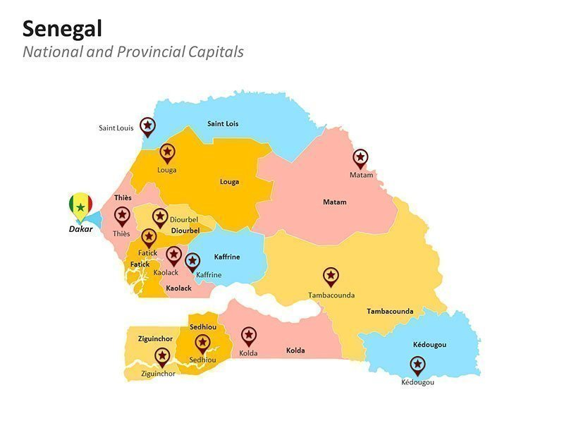 Provinces Map of Senegal PPT