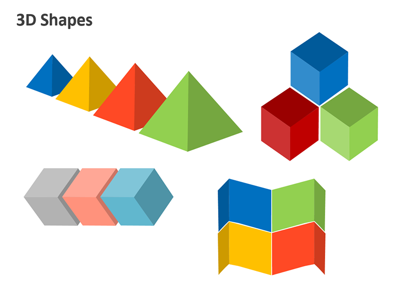 3D Shapes - Editable PPT Slide