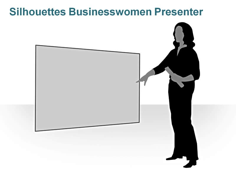 Editable PPT of Silhouettes - Businesswoman Presenter
