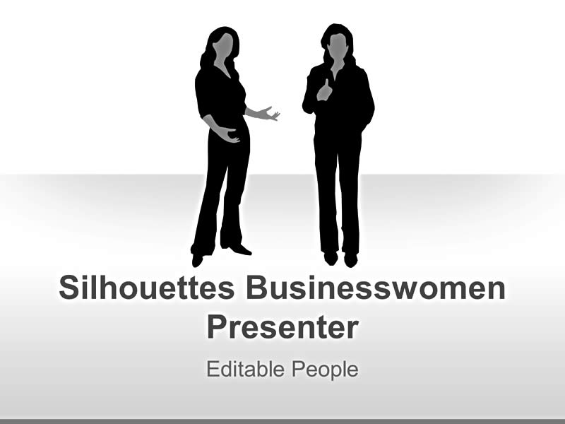 Editable PowerPoint Slides on Businesswoman Silhouettes