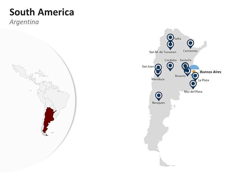 Editable PPT Template of South America Country Map of Argentina