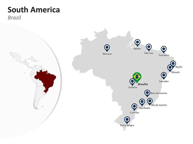 Editable PPT Slide of Map of Brazil in South America