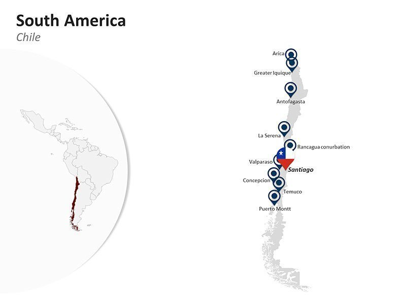 Editable PPT Slide of Map of Chile in South America