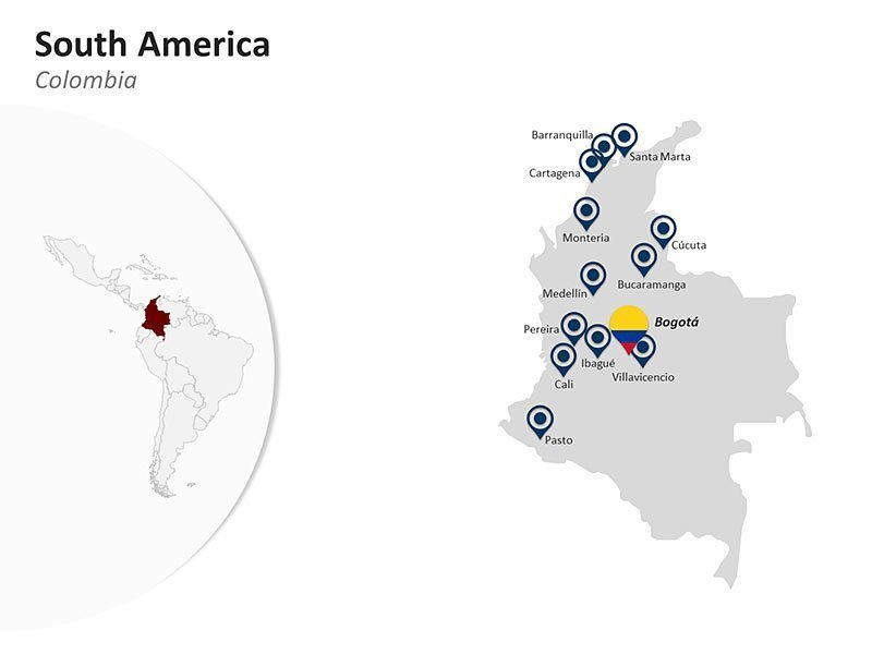 Editable PPT Template of South America Country Map - Colombia