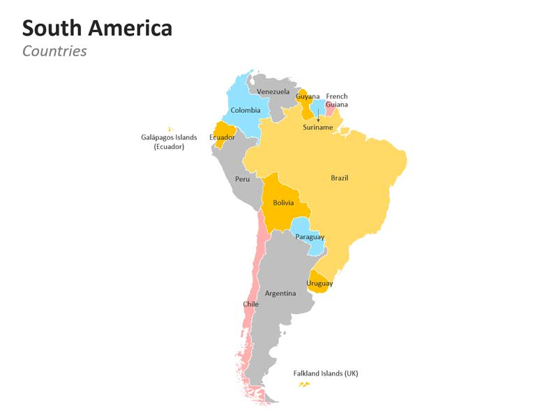 South American Countries Editable PPT Map