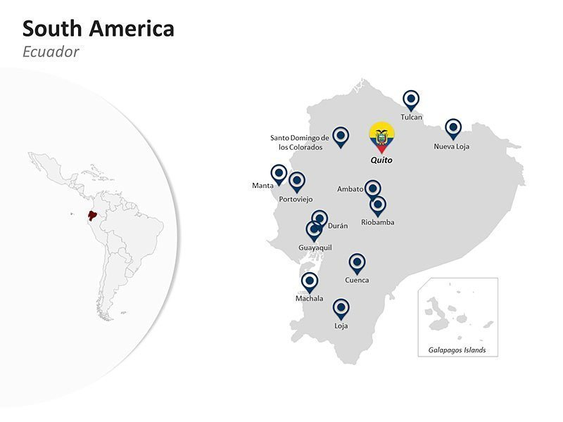 Editable PPT Slide of Map Eucador in South America