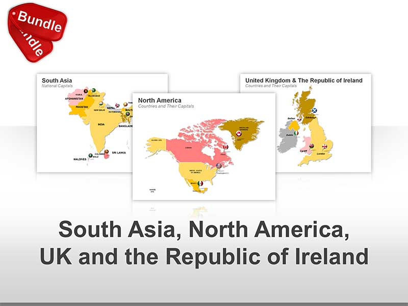 PowerPoint Countries Map - South Asia, North America, UK and Ireland