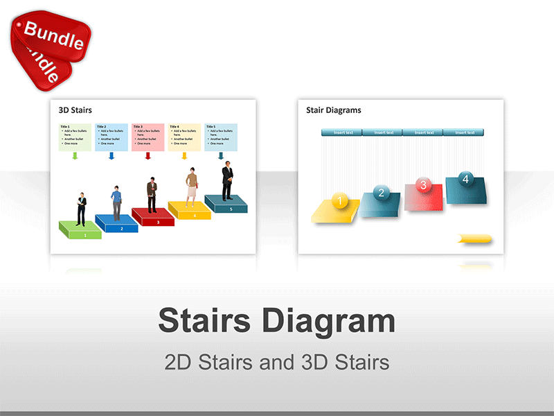 PowerPoint 2D - 3D Stairs and Steps Diagrams