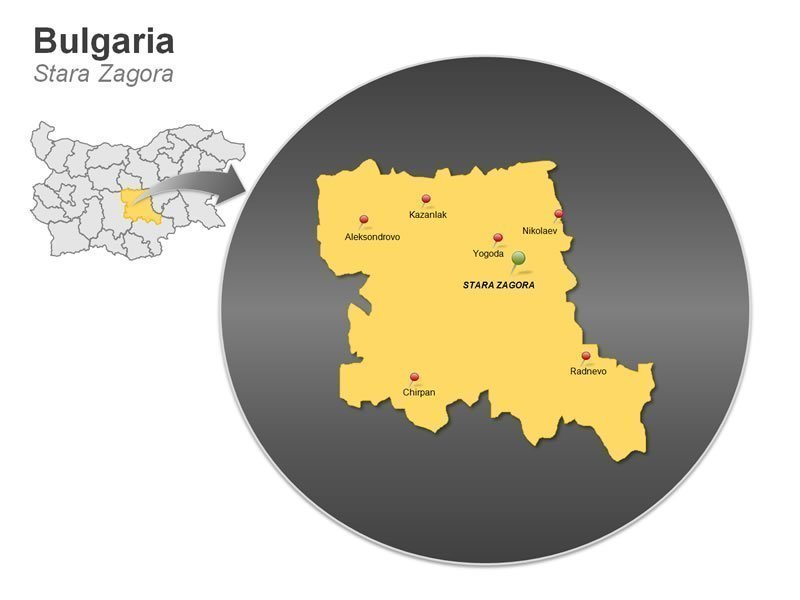 Map of Bulgaria PowerPoint - Stara Zagora