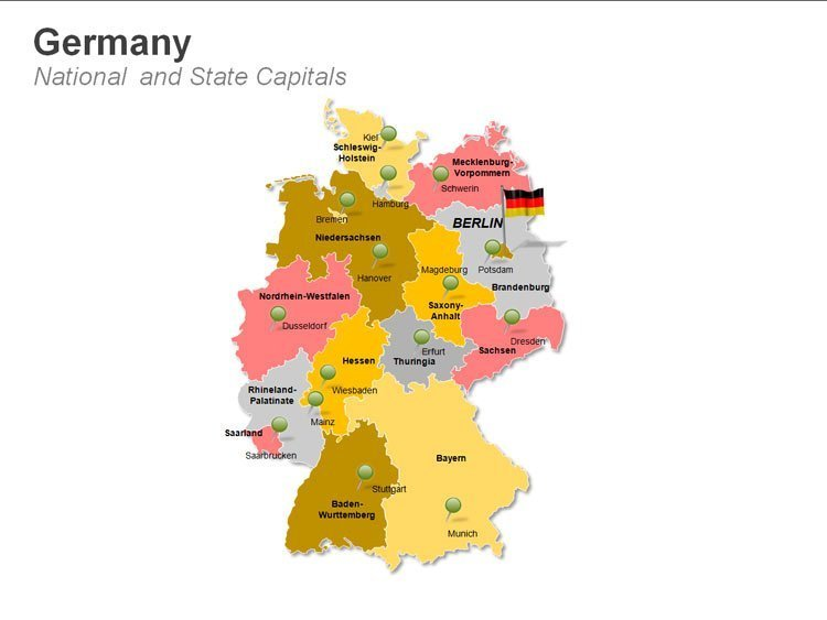 Germany National  and State Capitals PPT Map