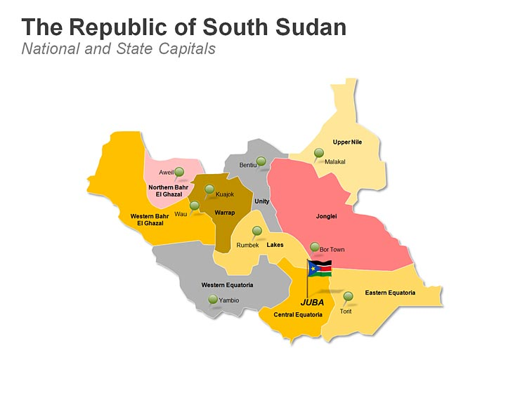 South Sudan States PowerPoint Map