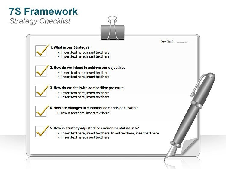 7S FrameworkStrategy Checklist PPT Presentation