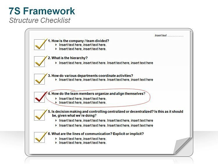 PowerPoint Slide 7S FrameworkStructure Checklist
