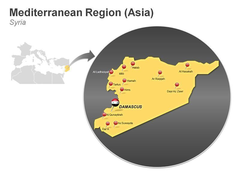 Editable PPT Illustration of Mediterranean Region of Syria