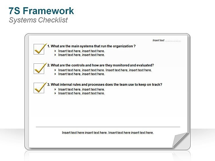Editable PPT 7S FrameworkSystems Checklist