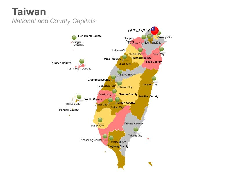 PPT Slides Taiwan Map with County Capitals