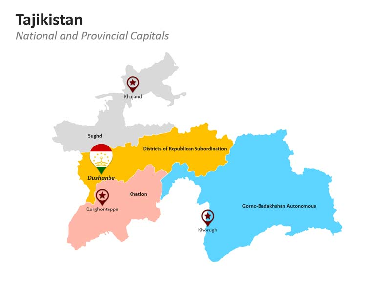 PowerPoint Map of Tajikistan - Administative Divisions