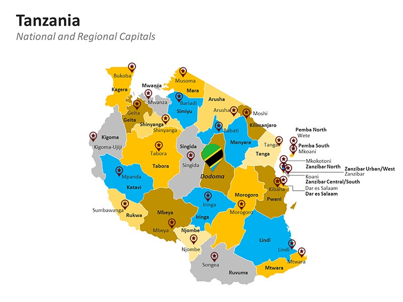 Regional capitals of Tanzania - National capital Tanzania Editable PowerPoint Map