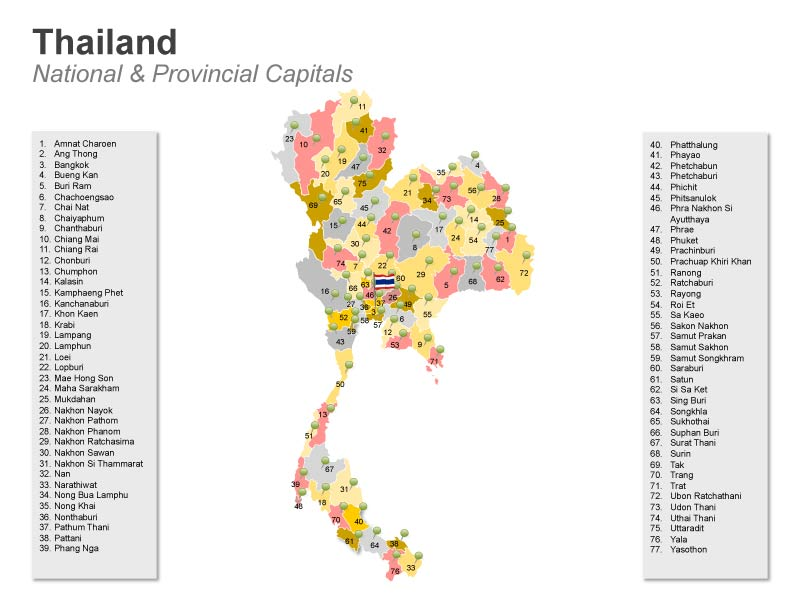 Thailand National & Provincial Capitals PPT Map
