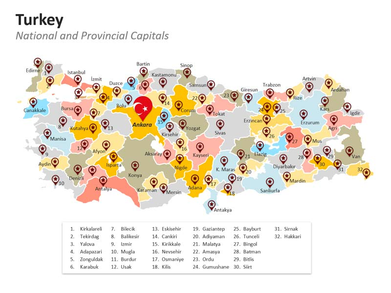 National and Provinces Map of Turkey in PPT