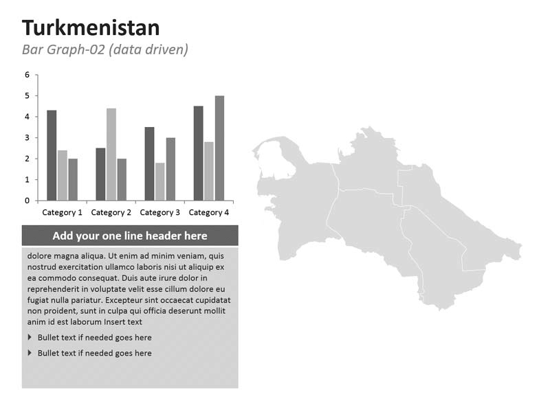 Turkmenistan Map with Editable PPT Bar Graphs