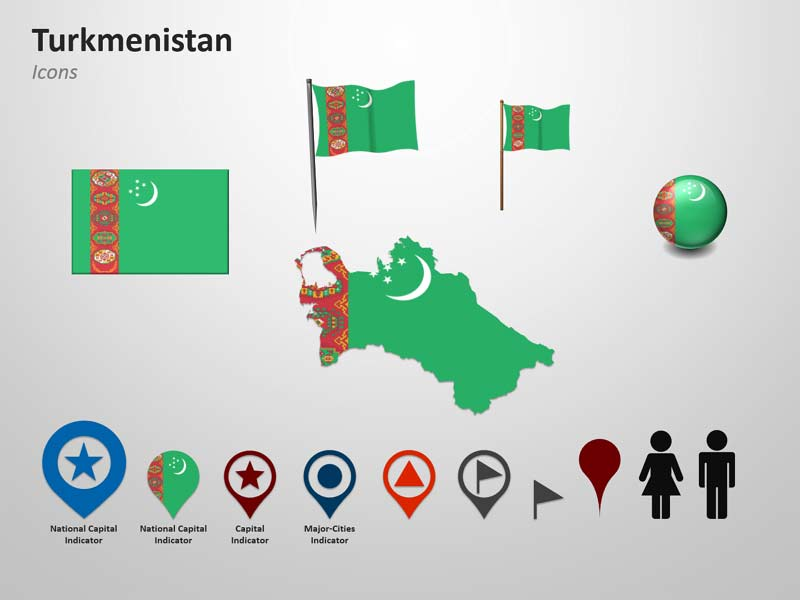 Turkmenistan Map and Flag Icons - PPT Cliparts