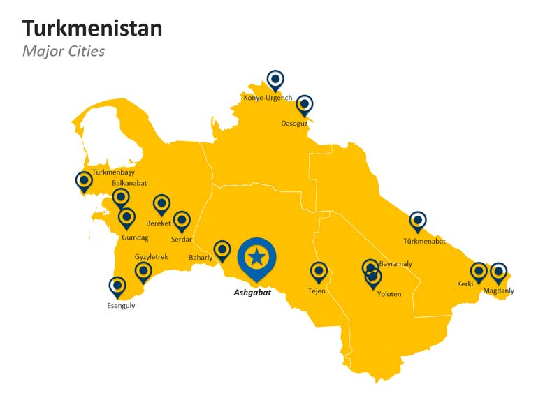 PowerPoint Map of Turkmenistan - Major Cities