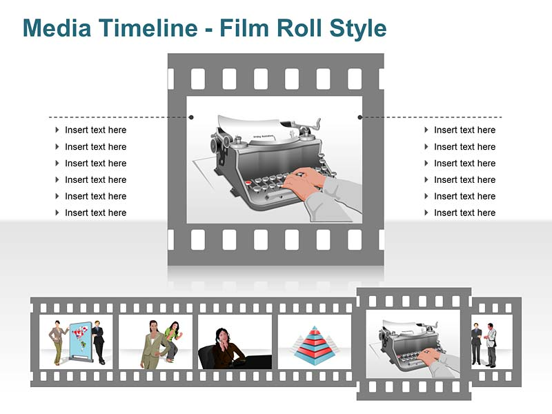 Timeline Typewriter Icons PPT Slide