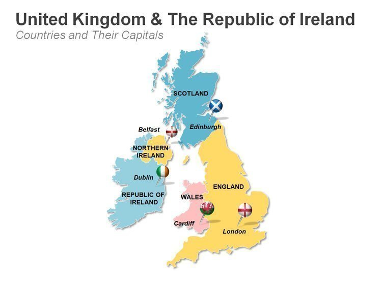 Customizable PPT UK and Ireland Map